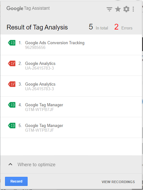 Google tag assistant browser extension for checking tag implementations