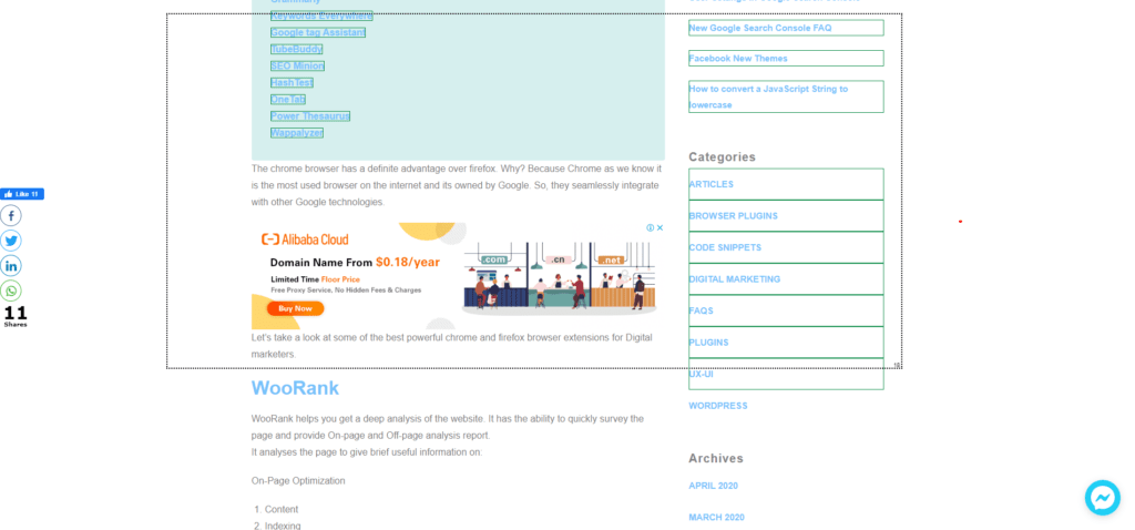 How to extract hyperlinks from specific section of web page